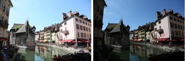 Écarts d'exposition observés en mémorisant la netteté sur l'immeuble de gauche (photo de gauche) ou sur l'immeuble de droite (photo de droite).