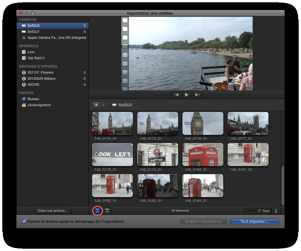 Monter ses vidéos avec Final Cut Pro X – L'acquisition des images