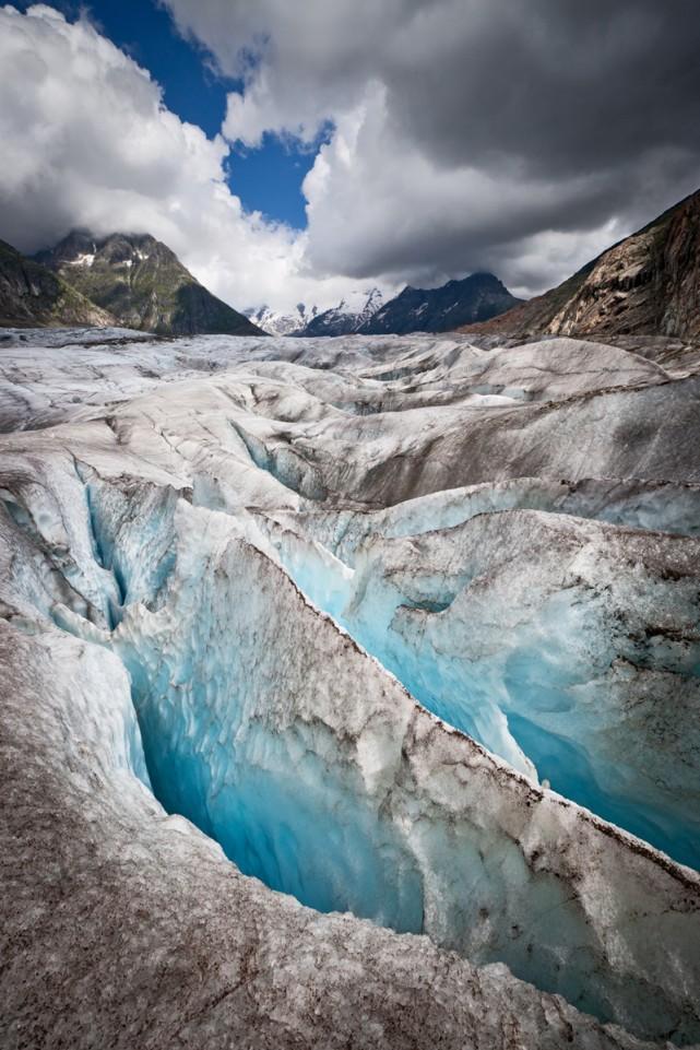 Sur le glacier d'Aletsch, en Suisse.